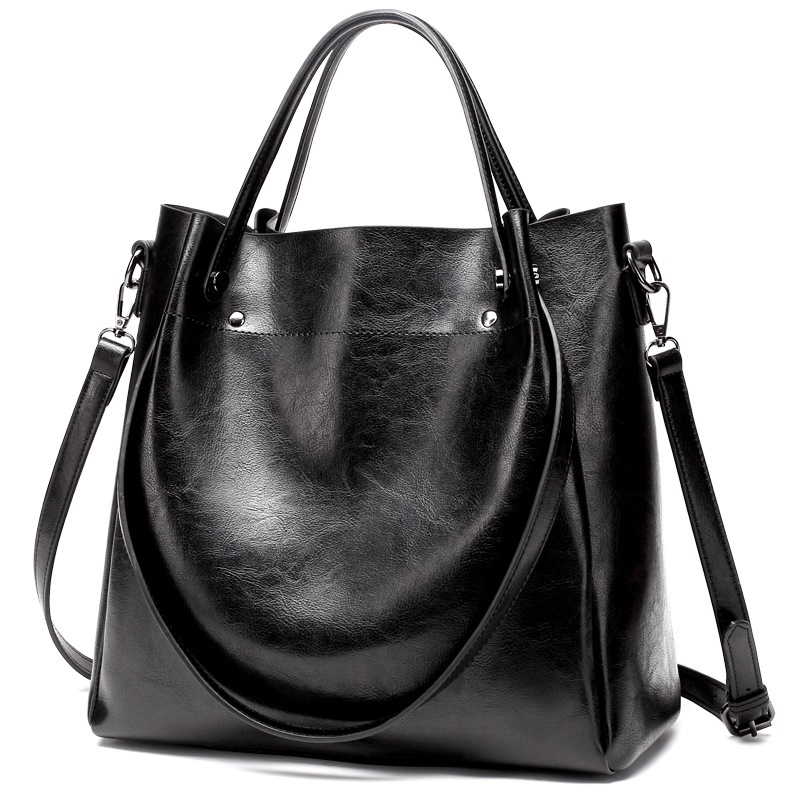 Oil Wax Leather-style Shoulder Bucket Bag