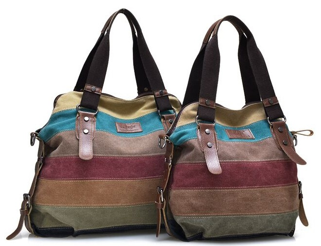 Multicolor Horizontal-striped Canvas Shoulder/Tote Bag