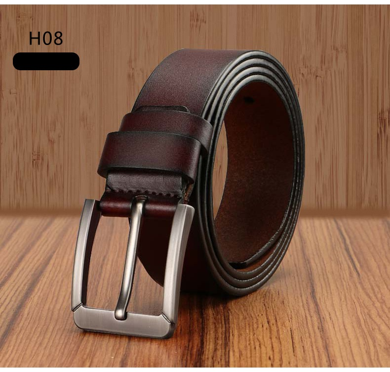 Men's Full Leather Belt with Pin Buckle