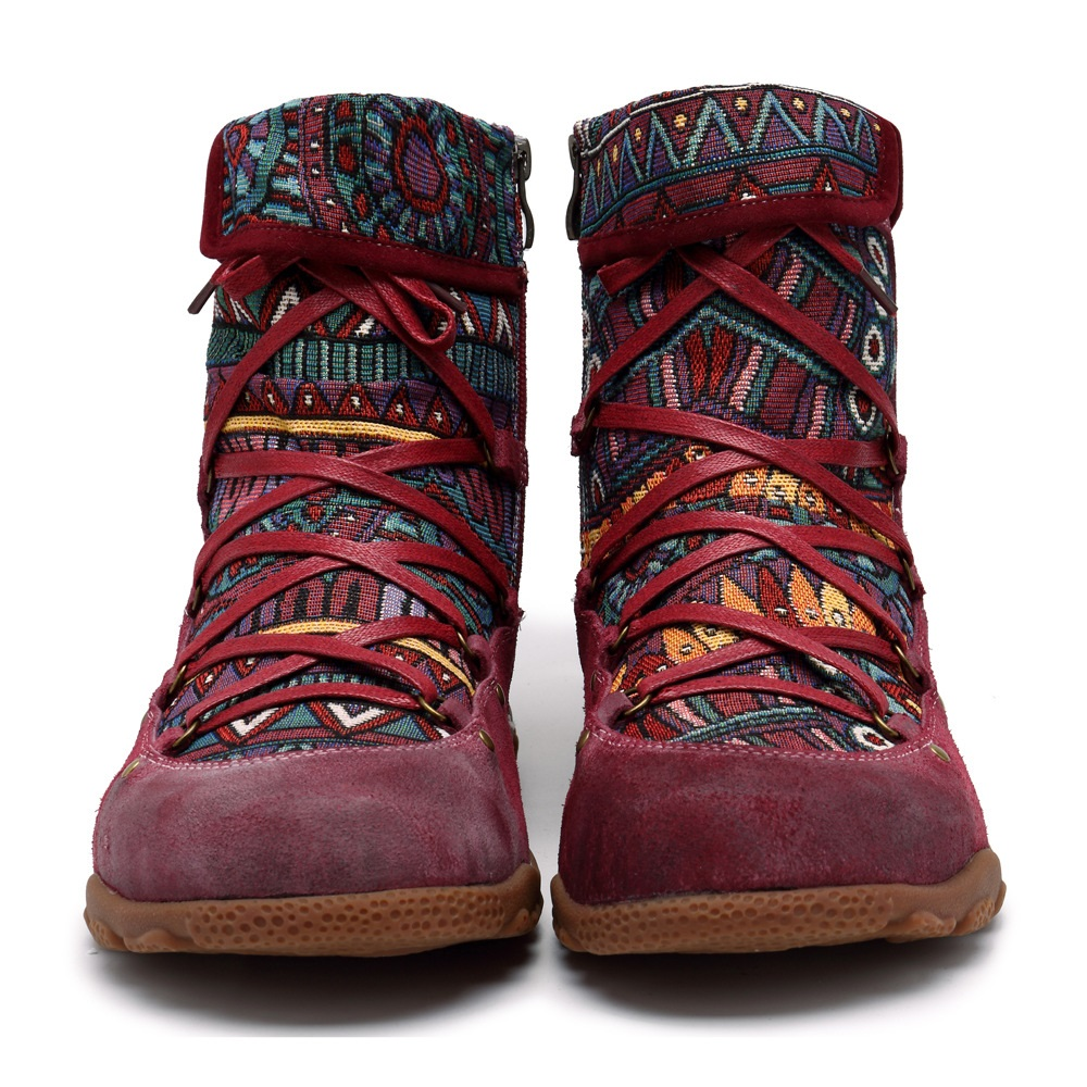 SOCOFY Women's Handmade Boho Leather Casual Ankle Boots: Tribal-pattern Jacquard Fabric Splicing