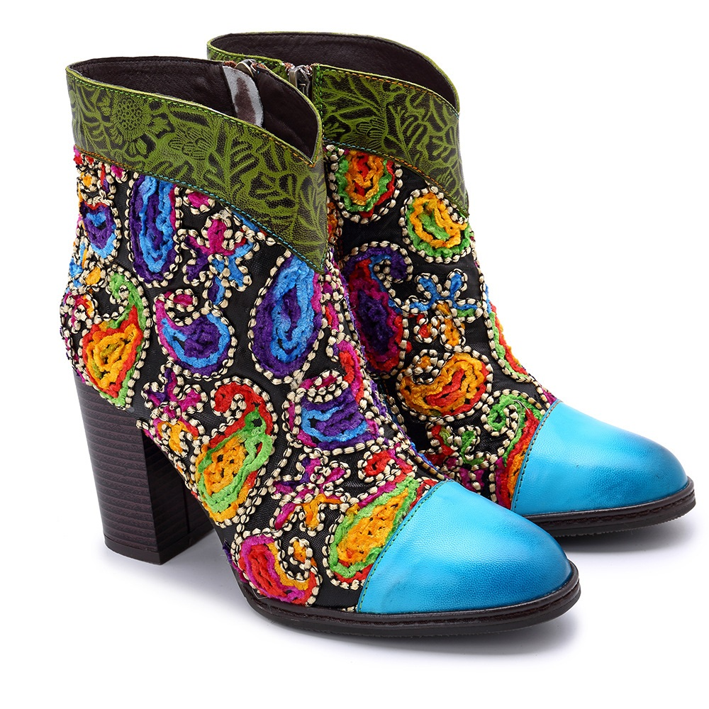 SOCOFY Women's Handmade Leather Boho Ankle Boots: 60s Retro Velveteen Paisleys Bordered by Metal Conch Beads, Embossed Foliage Pattern