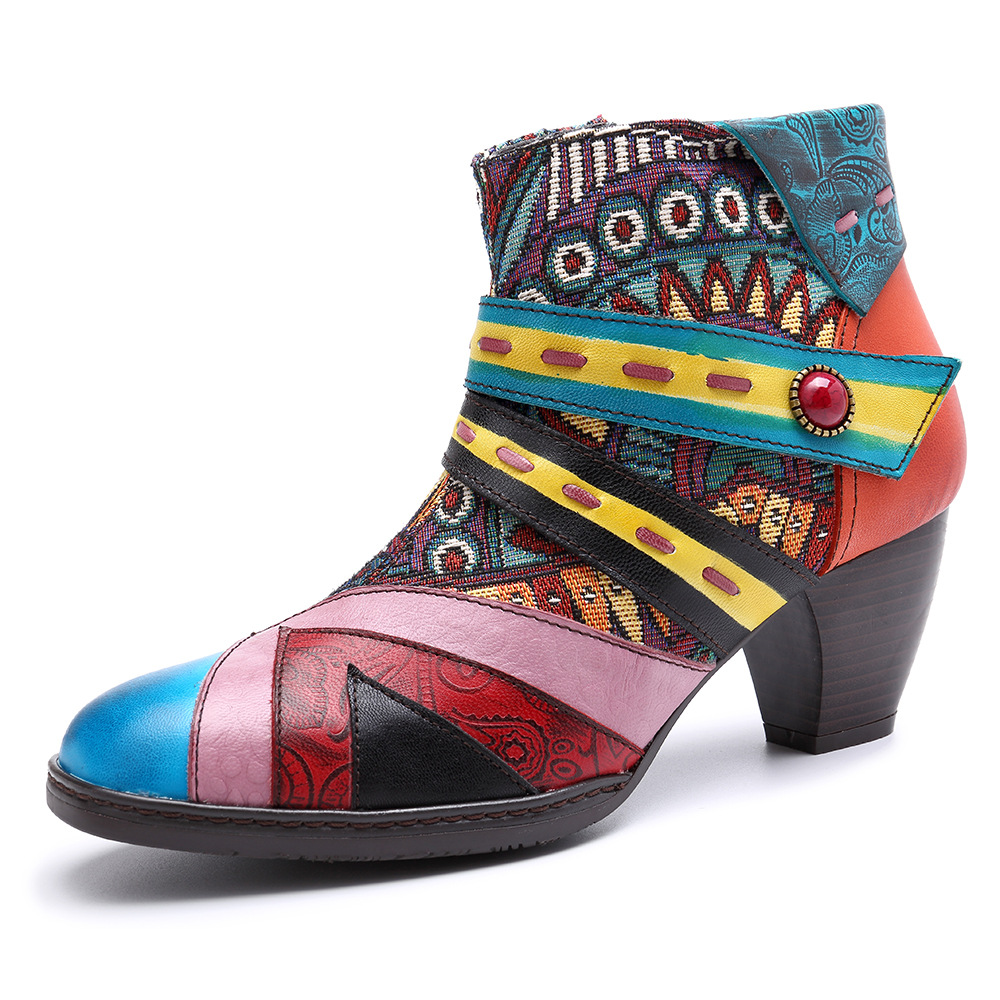 SOCOFY Women's Handmade Boho Leather Ankle Boots: Geometric/Tribal-pattern Jacquard Fabric Splicing