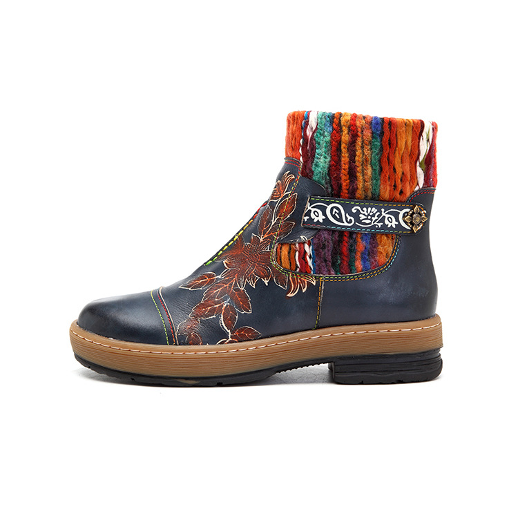 SOCOFY Women's Handmade Boho Leather Gum-soled Casual Ankle Boots: Woven Yarn Splicing