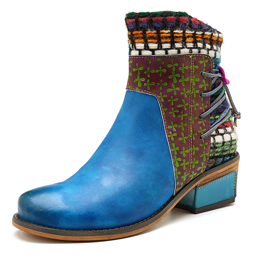 SOCOFY Women's Handmade Boho Leather Cowgirl Ankle Boots: Woven Yarn Splicing, Hand-painted, Zippered