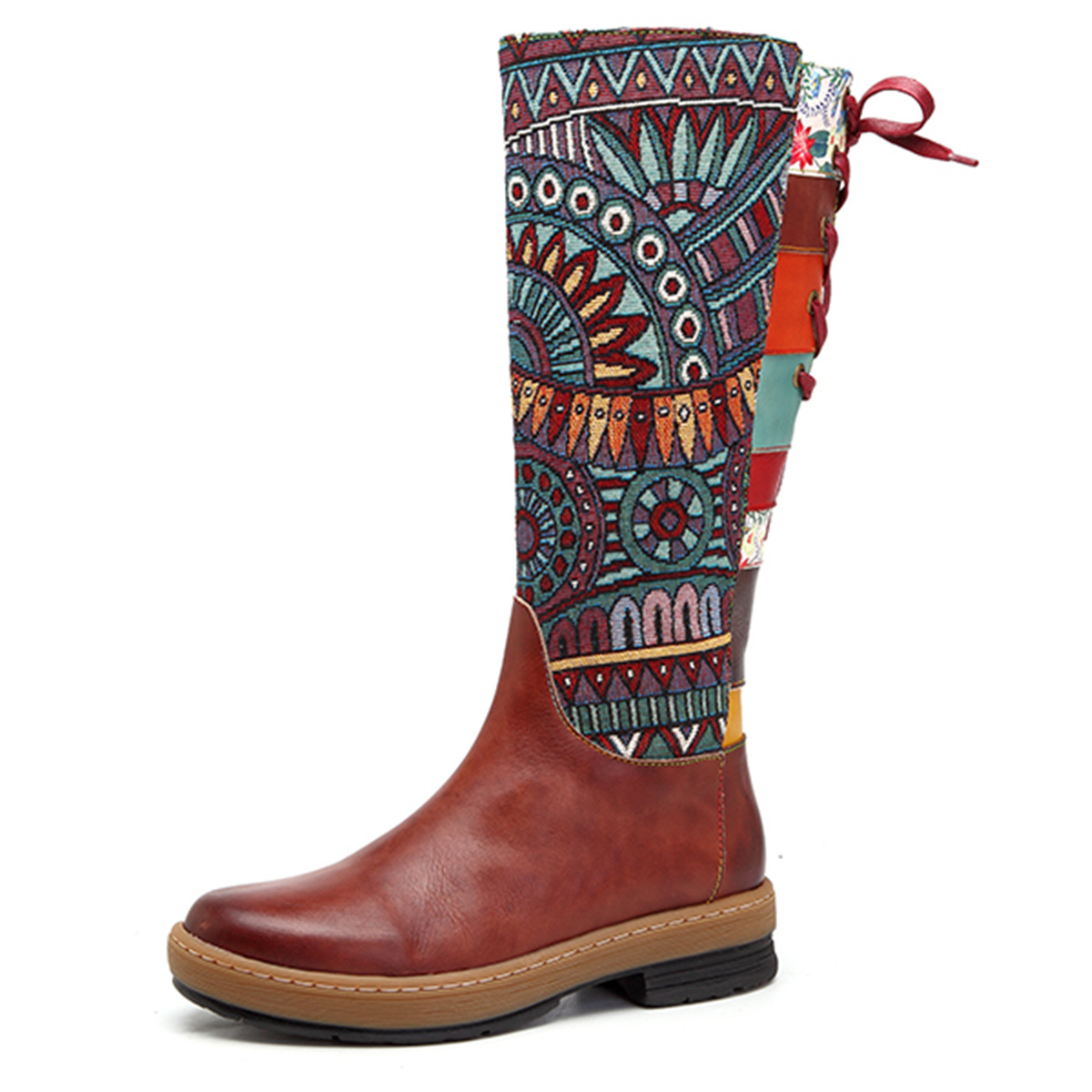 SOCOFY Women's Handmade Boho Leather Gum-soled Bohemian Calf Boots: Tribal-pattern Jacquard Fabric Splicing