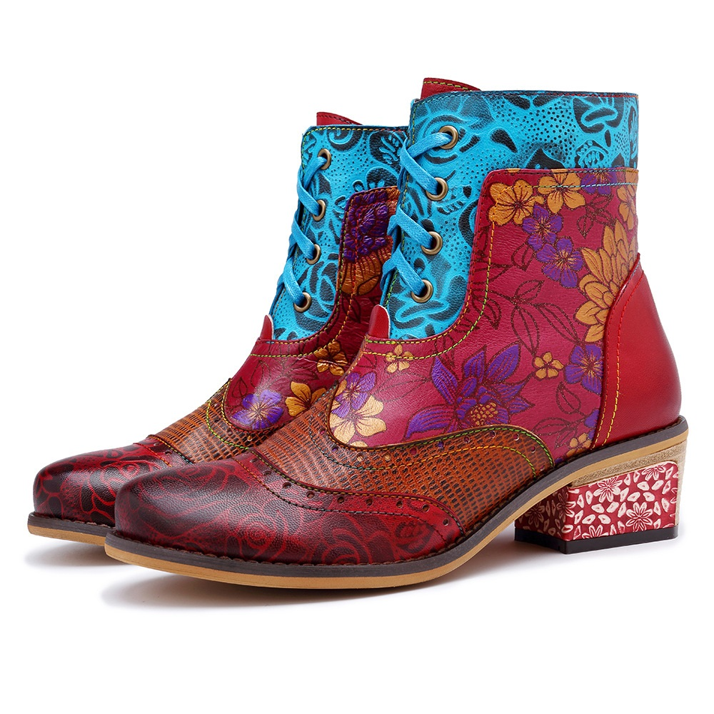 SOCOFY Women's Handmade Boho Leather Ankle Boots: Hand-painted Floral-design, Embossed Leather Splicing, Wingtip-style, Zippered
