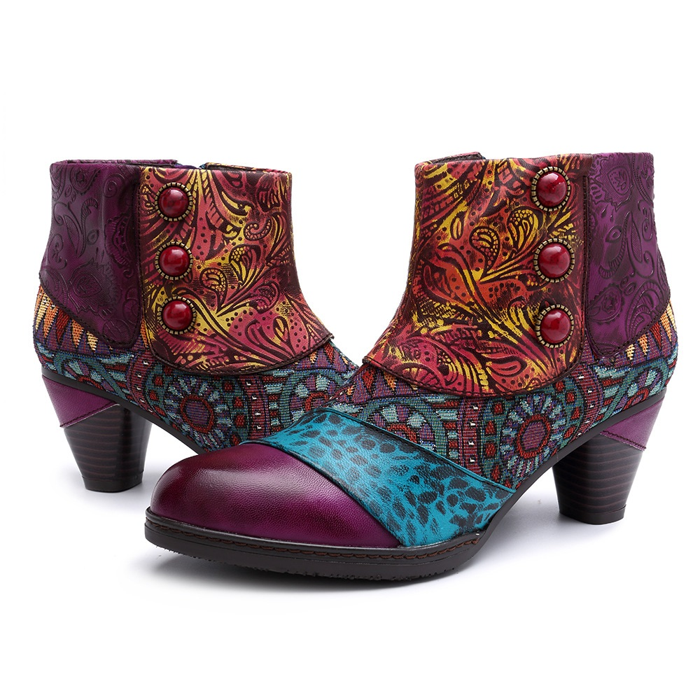 SOCOFY Women's Handmade Boho Spats-style Ankle Boots: Embossed Leather, Jacquard Cloth Overlaid, Zippered