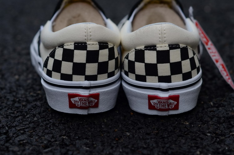 Vans Classic Checkerboard Slip-on Skate Shoes/Sneakers, Black/Off White